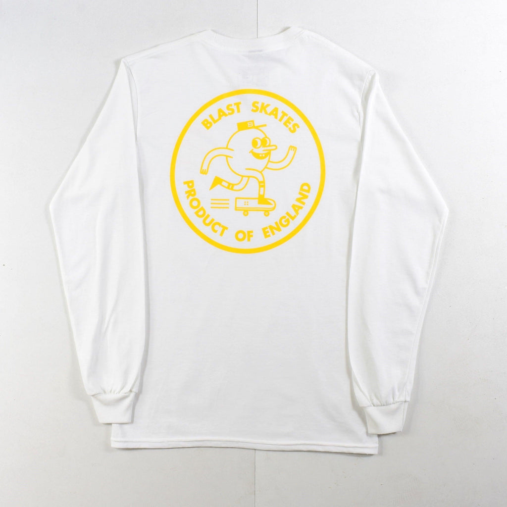 Blast Skates - Yellow Round Logo - Long Sleeve Tee - White