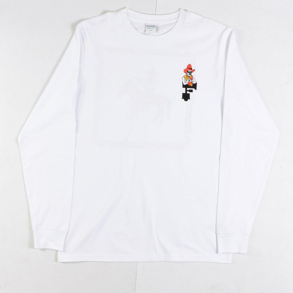 Flaash Apparel - Calamity Jack - Organic Cotton Long Sleeve Tee - White