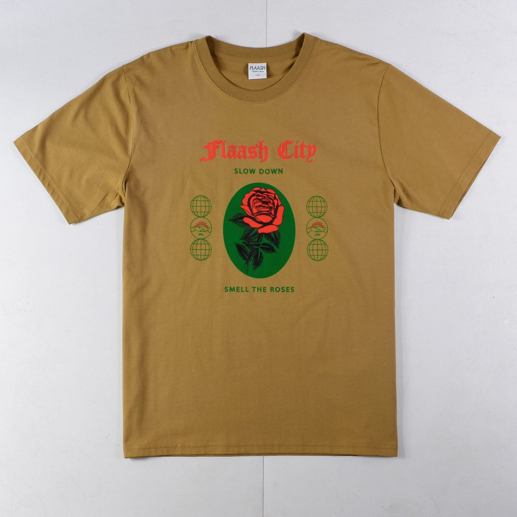 Flaash Apparel - Slow Down - Organic Cotton Tee - Caramel