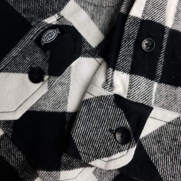 Dickies Sacramento Long Sleeve Flannel Shirt- White & Black - Grind Supply Co -[city]