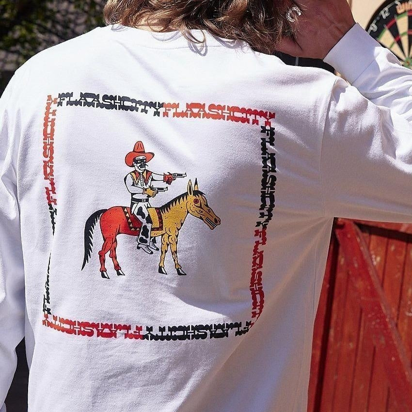 Flaash Apparel - Calamity Jack - Organic Cotton Long Sleeve Tee - White - Fast Shipping