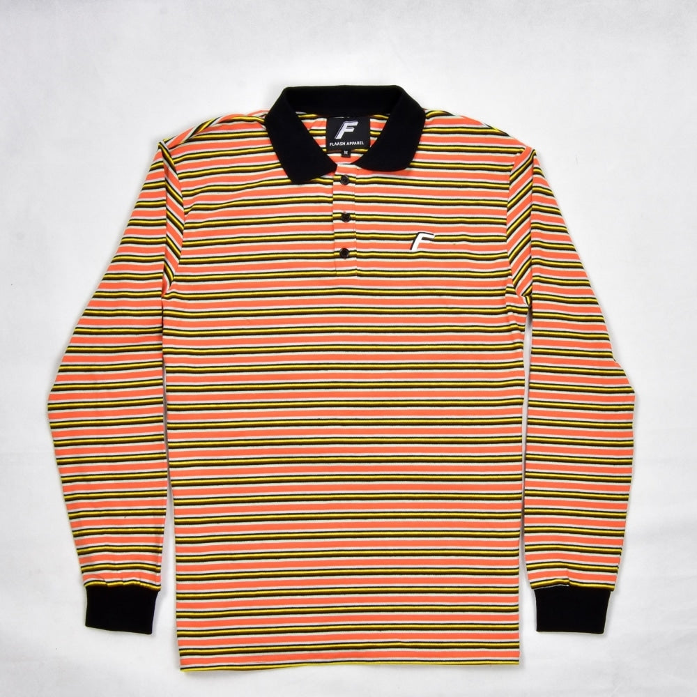 Flaash Apparel - Samuel - Long Sleeve Cotton Polo Shirt - Orange/black - Fast Shipping