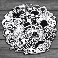 Random Black and White Sticker Graffiti Punk