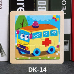 9 Slice Simple Wooden Jigsaw Puzzle Cartoon