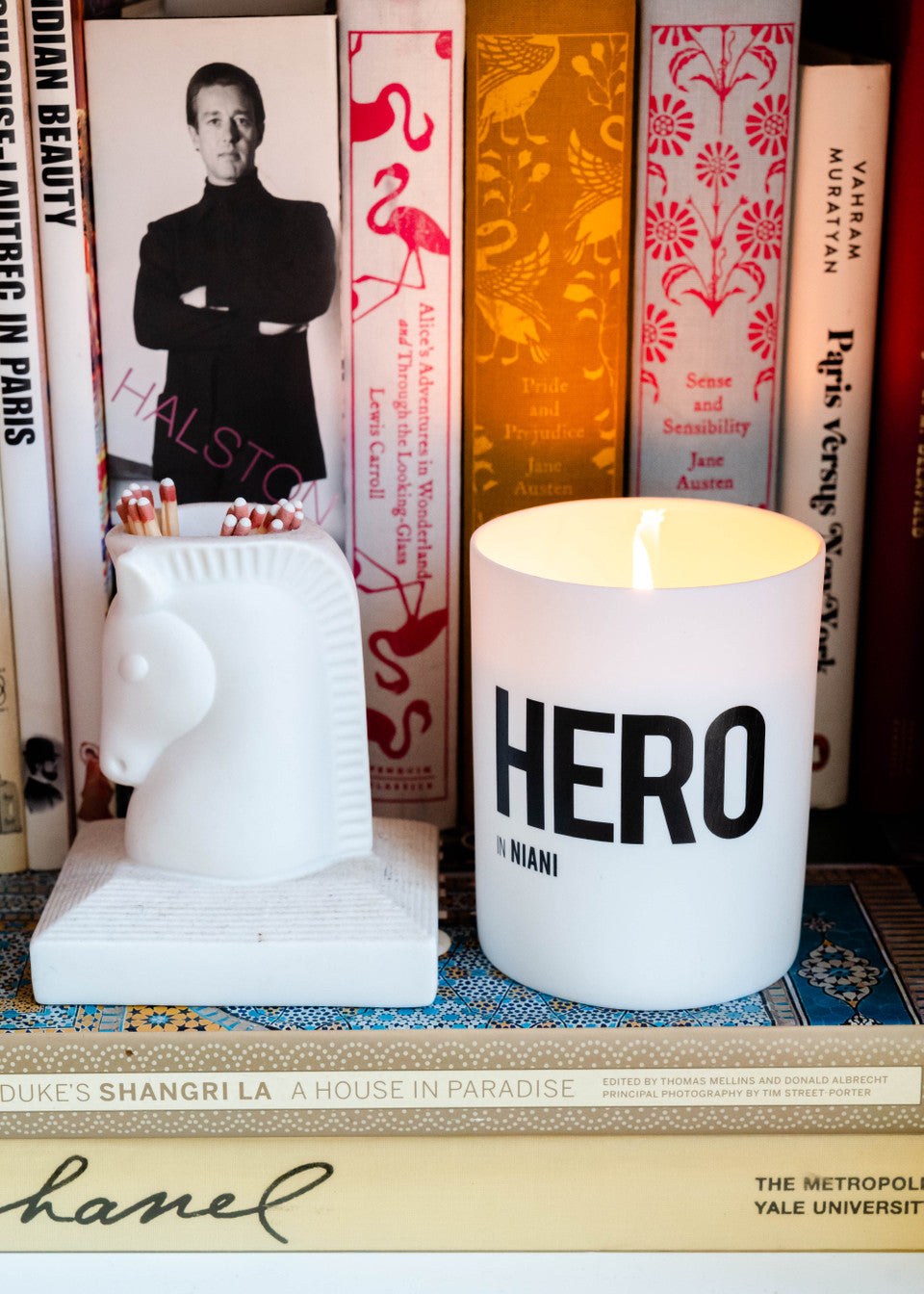HERO Scented Candle burning