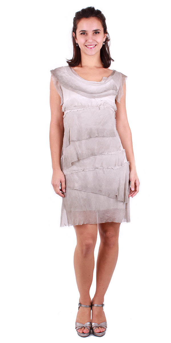Silk Sleeveless Ruffle Dress