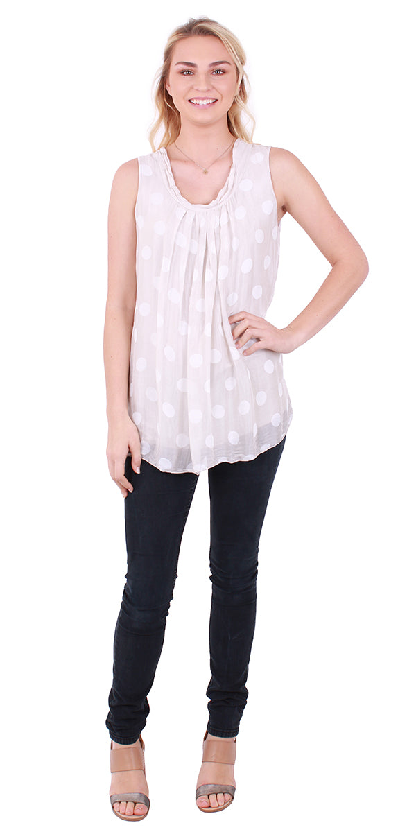 Sleeveless Polka Dot Blouse