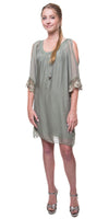 Silk Cold Shoulder Dress
