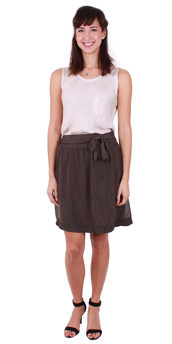 Silk Skirt with Tie Belt