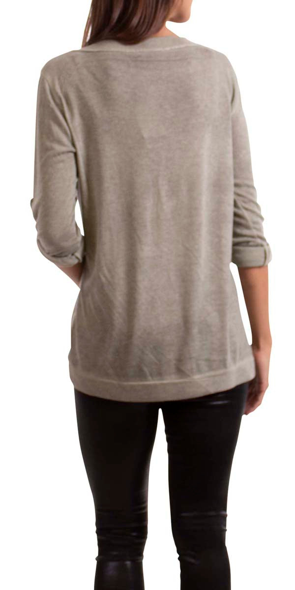Metallic V-Neck Long Sleeve Blouse