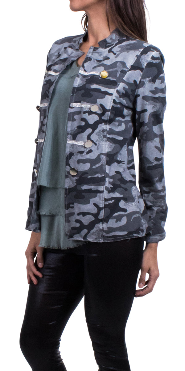 Cotton Rhinestone Army Jacket