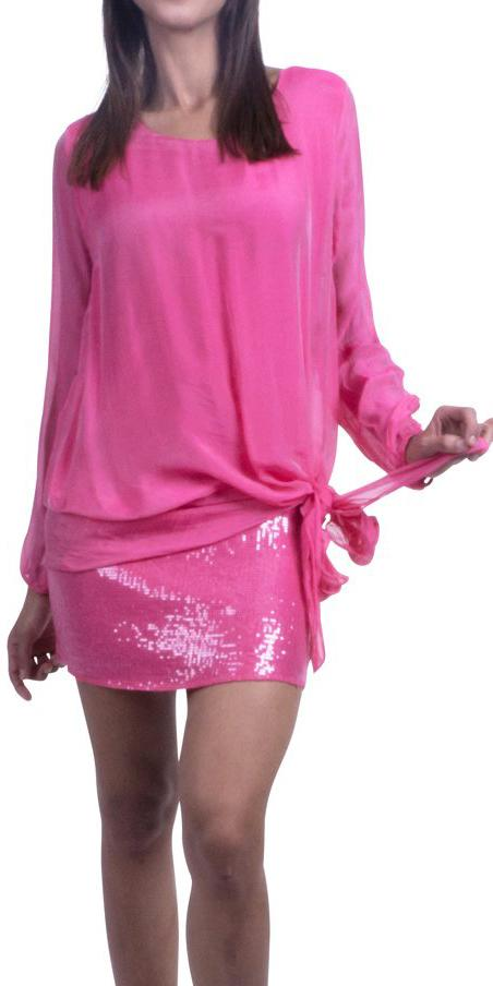 Silk Sequin Tunic with Side Tie