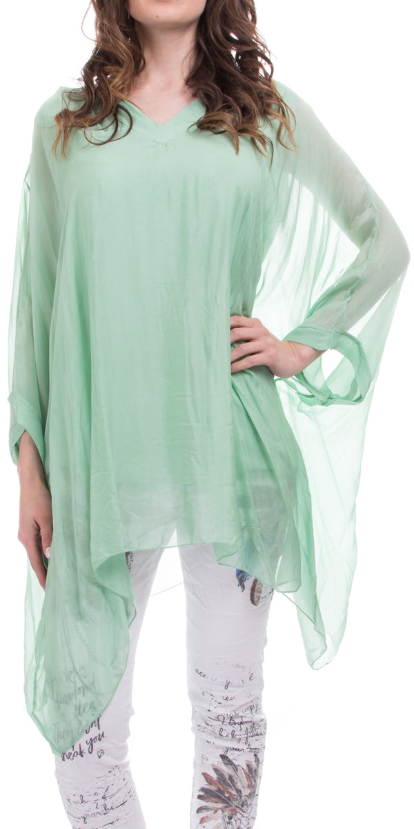 V-Neck Silk Kaftan Top