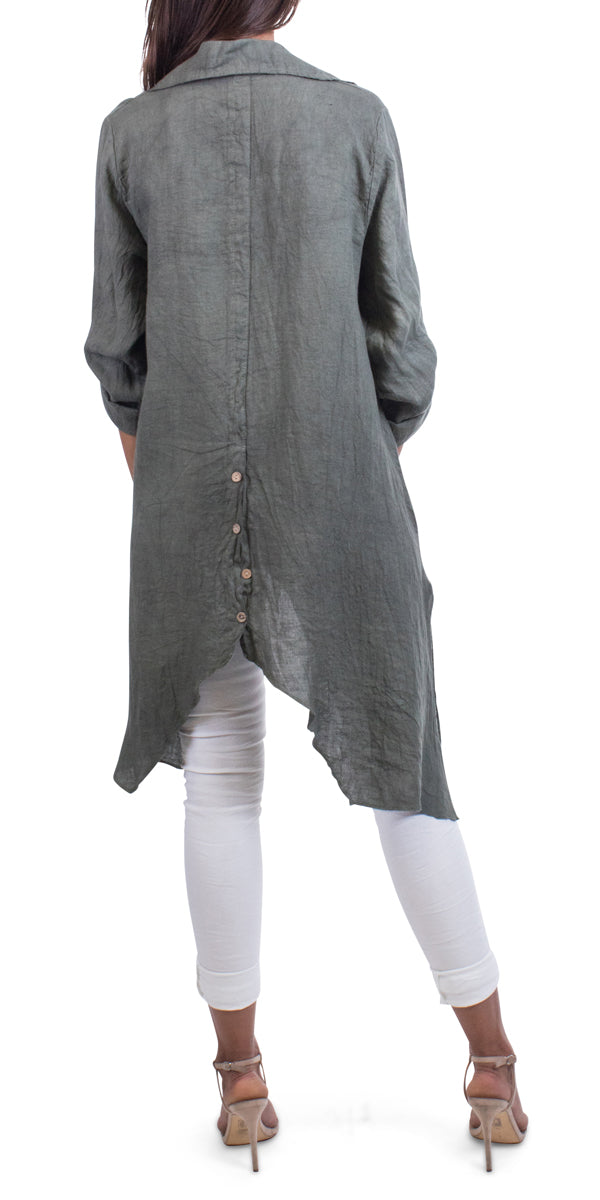 Sharkbite Linen Button Down Tunic With Cuffed Sleeves
