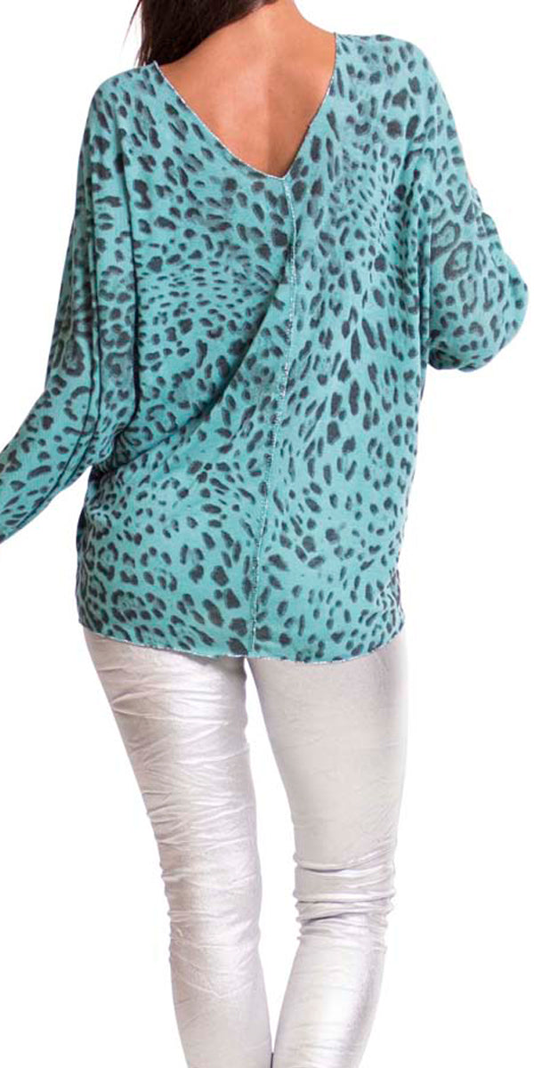 Leopard Sweater with Silver Threads