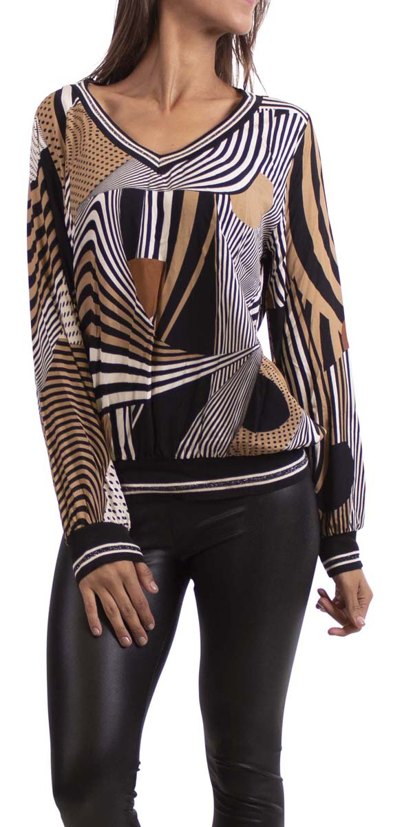 Stripe and Dot Print V-Neck Blouse