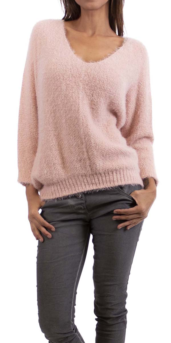 "Fuzzy Sweater with 3/4"" Sleeve"