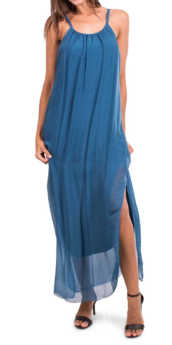 Silk Spaghetti Maxi Dress
