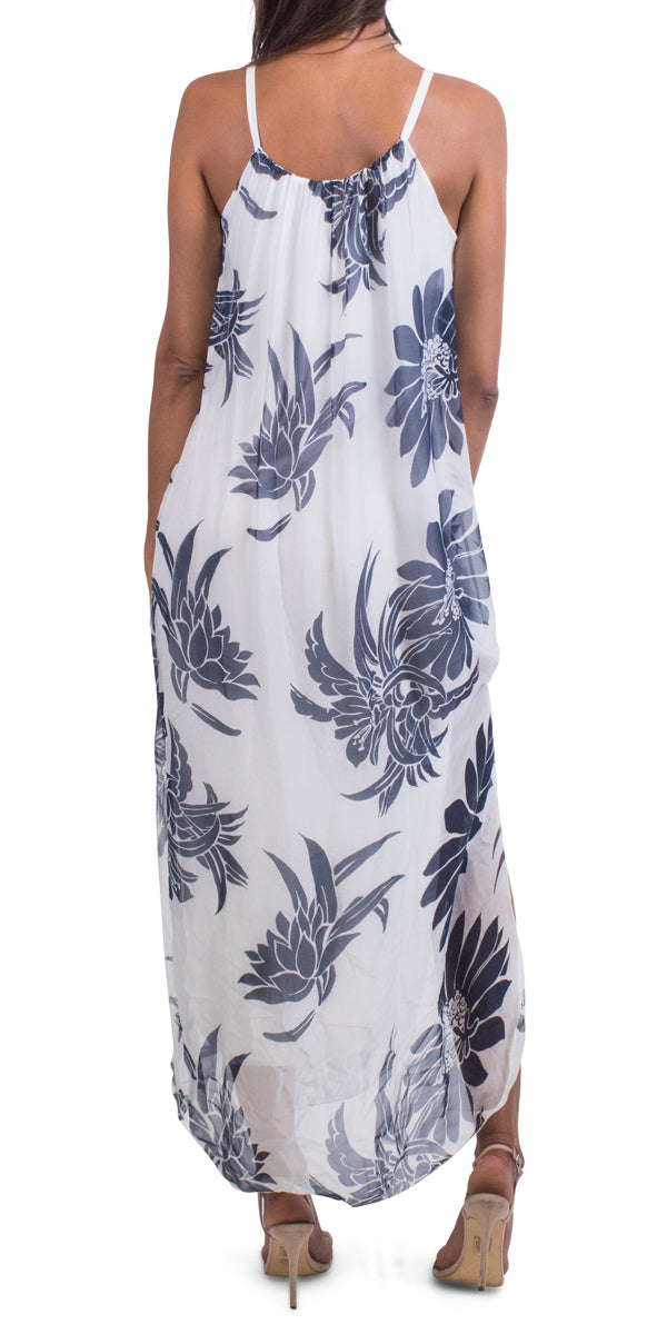 Big Floral Print Spaghetti Strap Side Slit Maxi Silk Dress