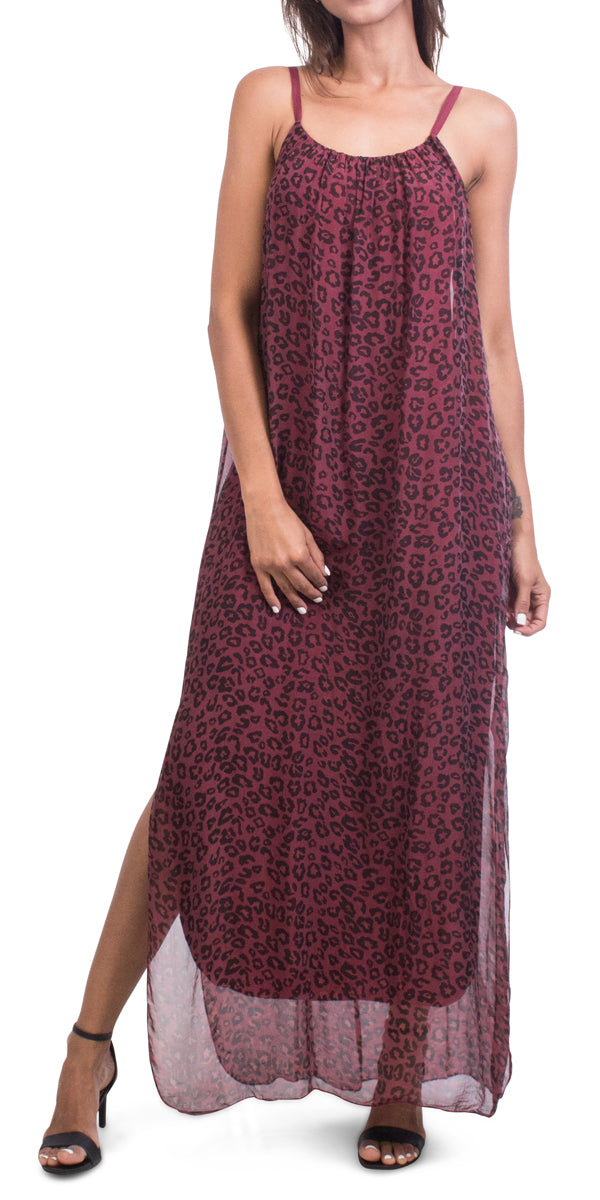 Silk Leopard Maxi Dress