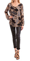 Baroque and Leopard Print Blouse