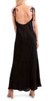 Satin Maxi Dress with V-Neck and Open Back