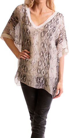 Alligator Print Long Sleeve Blouse