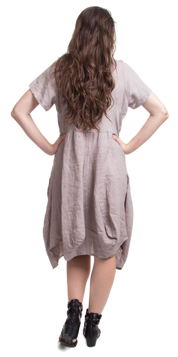 Scoop Neck Linen Dress