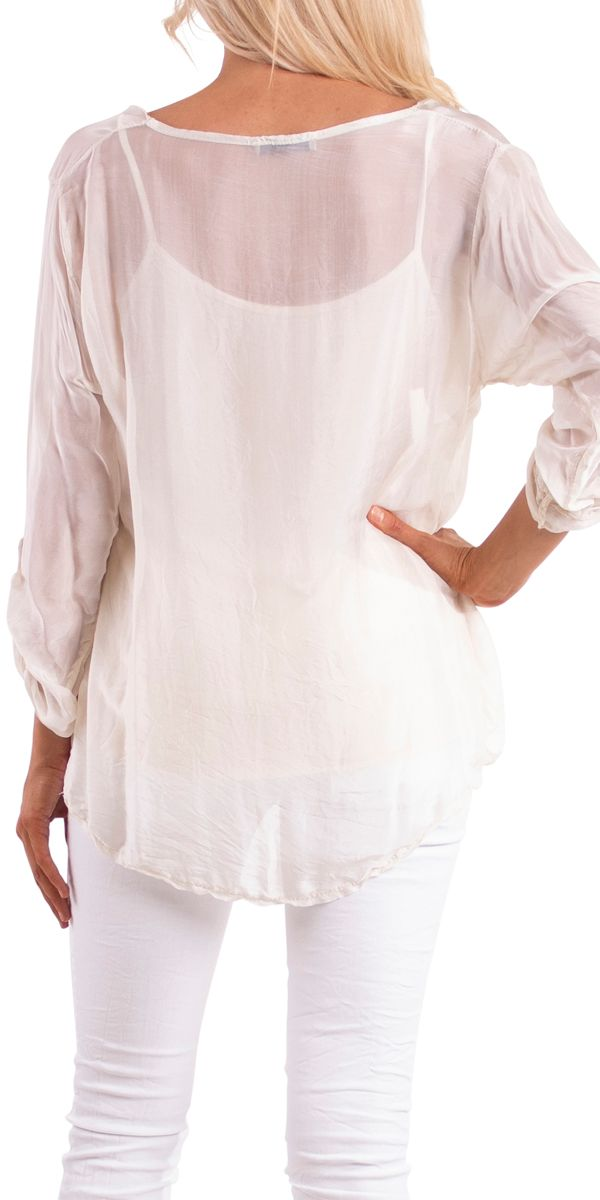 2-Piece Silk Overlay Blouse