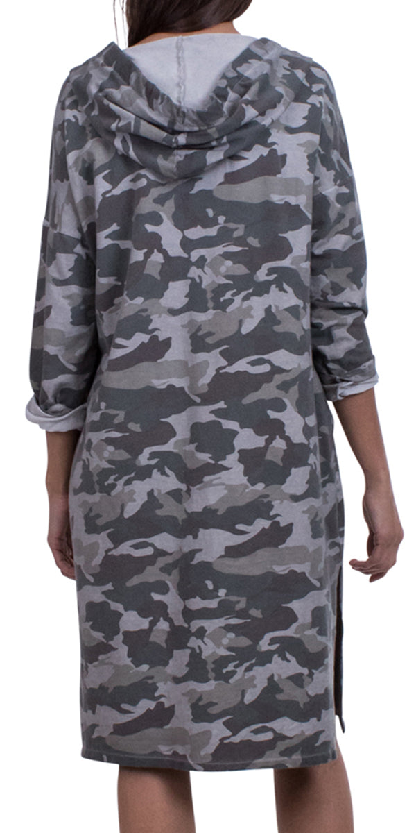 Camo Print Dress with Hoodie