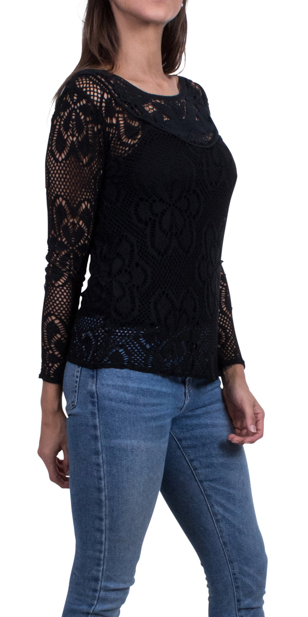Lace-style Knit Top with Floral Design