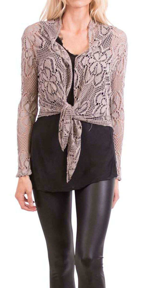 Short Lace Knit Cardigan