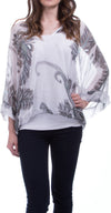 Button Up Medium Sleeve Silk Blouse