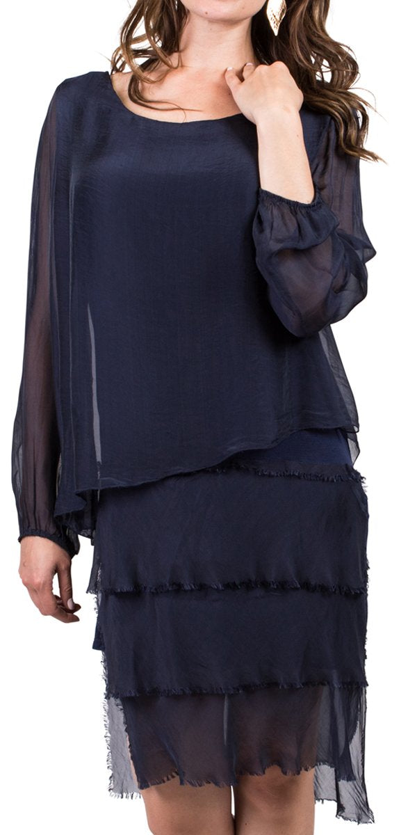 Silk Long Sleeve Dress with Frayed Edge