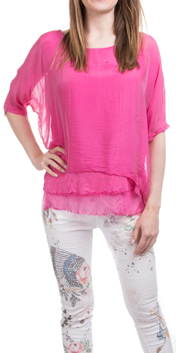 Frayed Edge Kaftan Blouse