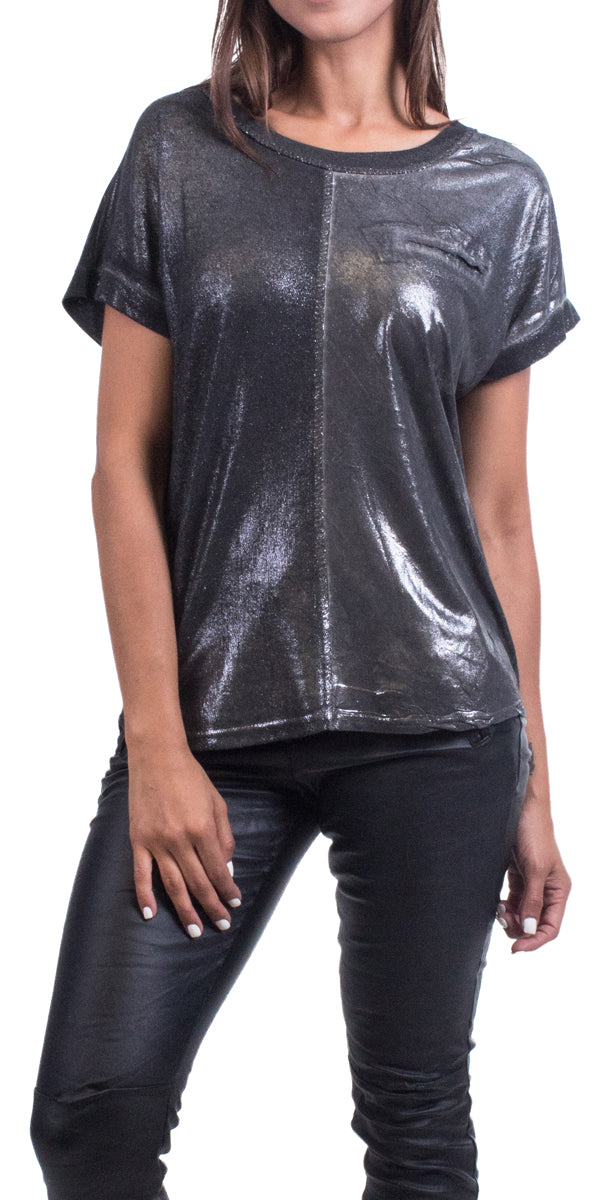 Two Tone Tee with Silver Stitching and Sequin Faux Pocket