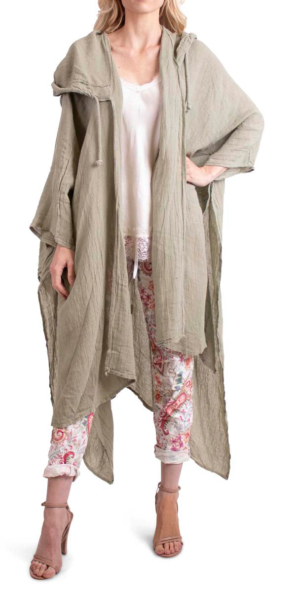 Hooded Cotton/Linen Maxi Duster