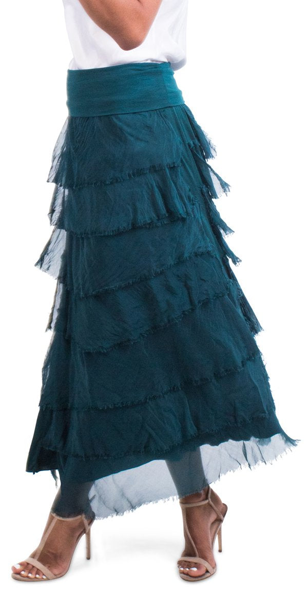 Ruffled Maxi Length Skirt
