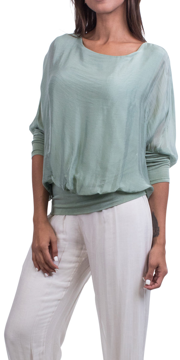 Sheer Batwing Blouse