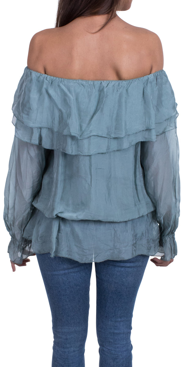 Open Shoulder Ruffle Blouse