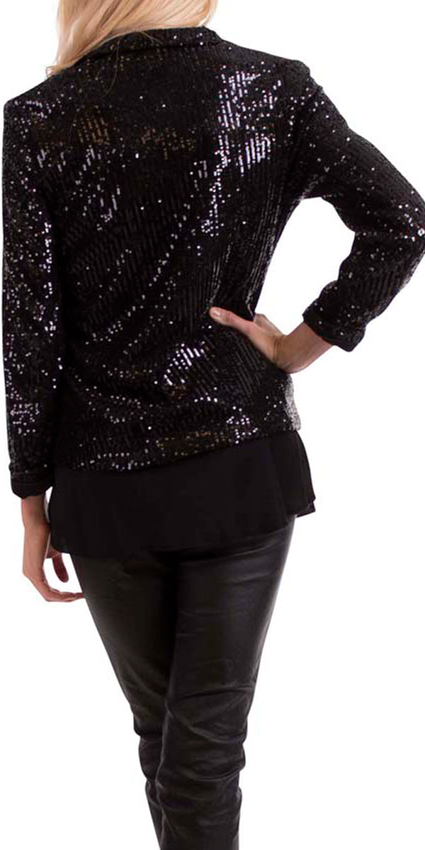 Full Sequin Blazer with Cuff Sleeve