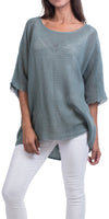 Linen Cold Shoulder Top