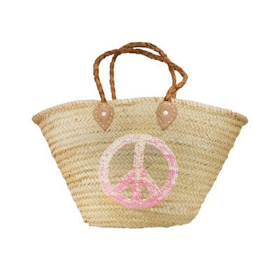 Straw Basket Red Heart