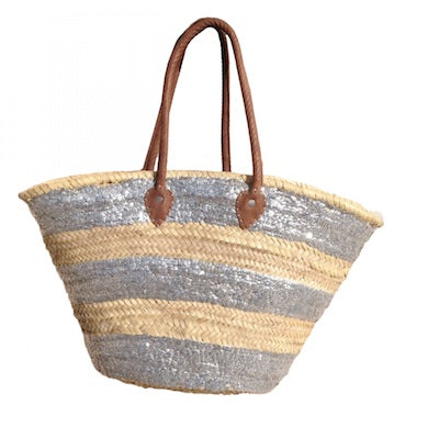 Straw Basket Round Line Gold