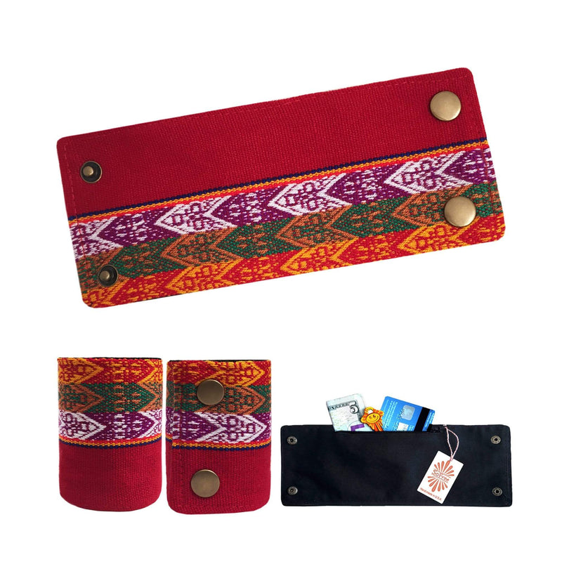 Red, Yellow and Green Peruvian Wrist Wallet by SoFree Creations