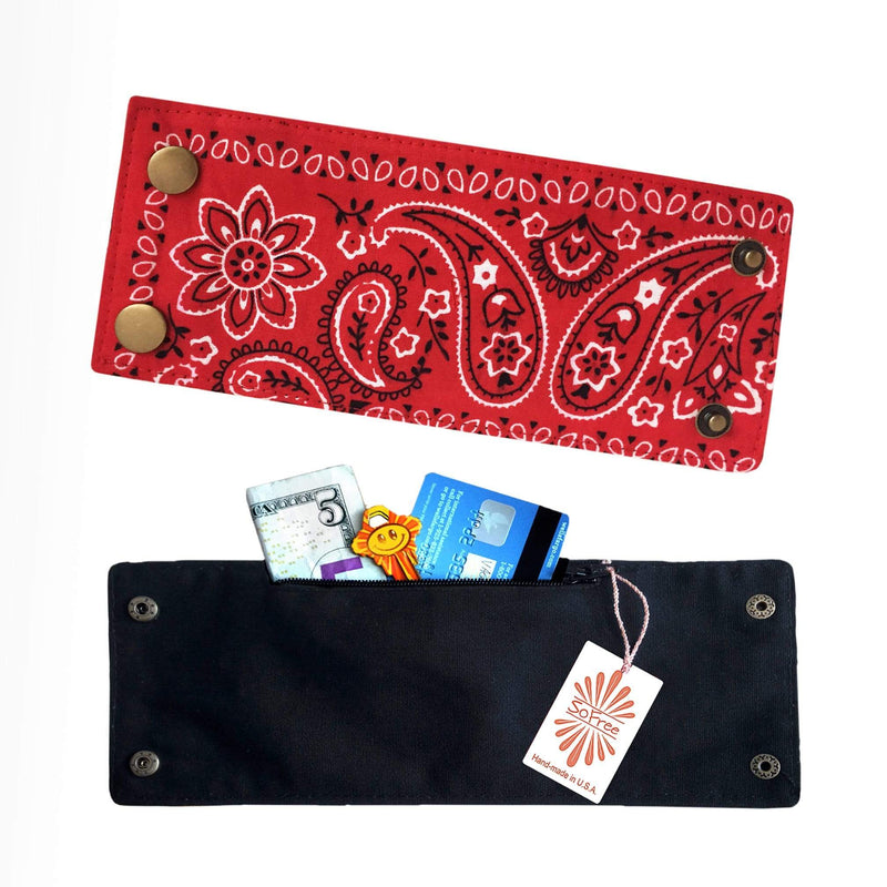 Red Bandana Cuff Wrist Wallet by Sofree Creations