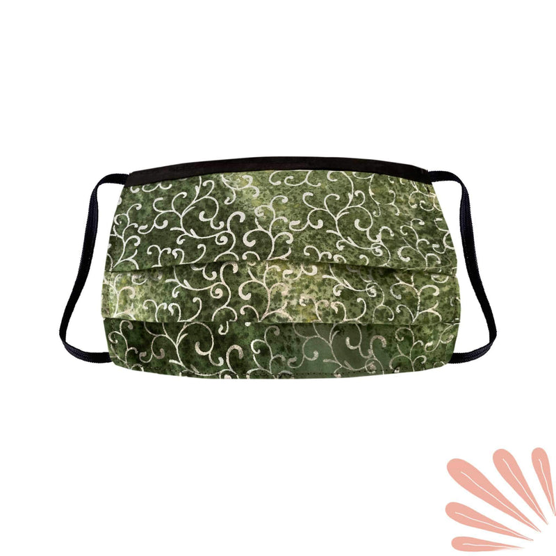 Face Mask with Filter Pocket - 100% Cotton Batik Dark Green