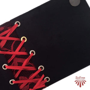 Black and Red Corset Style Wrist Wallet by SoFree Creations