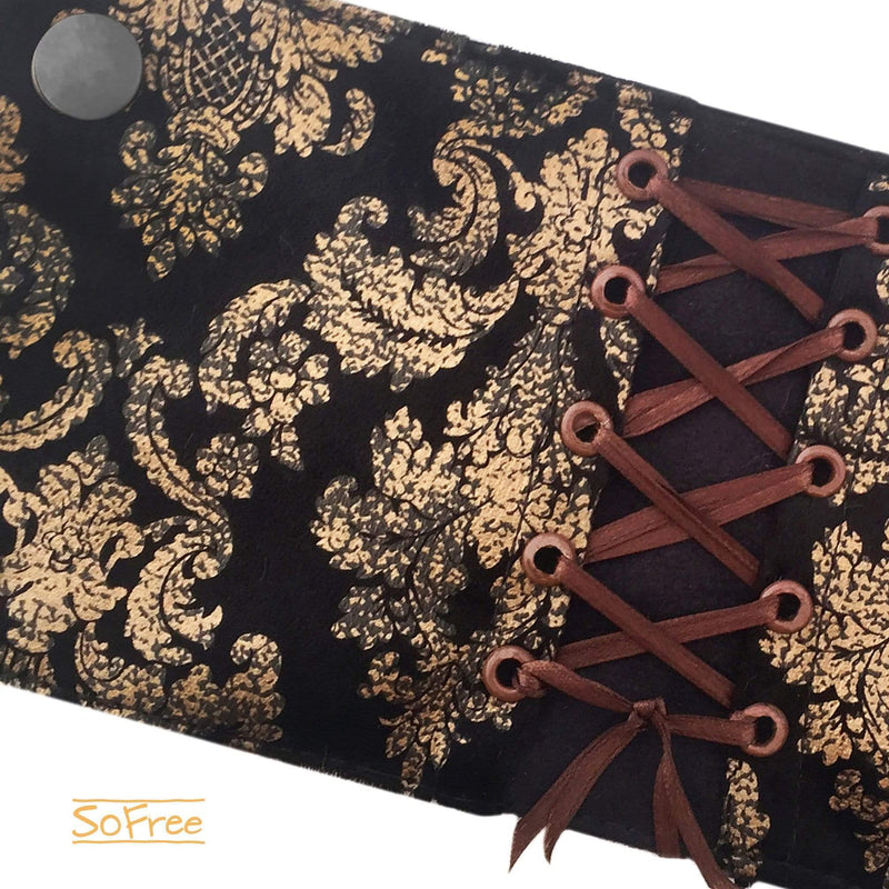 Black and Golden Victorian Corset Style Wrist Wallet by SoFree Creations