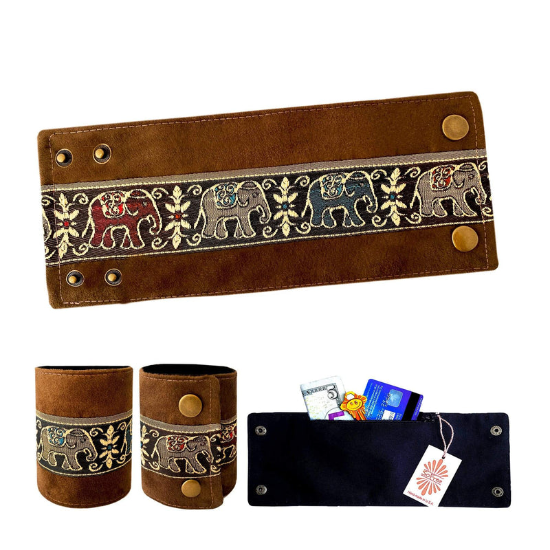SoFree Creations Wrist Wallet Ethnic Thai Silk on Suede Wrist Wallet